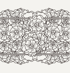 seamless floral patterned boeder with flowers vector image