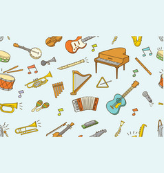 seamless pattern doodle musical instrument vector image