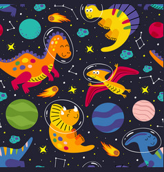 seamless pattern with a dinosaurs in space vector image