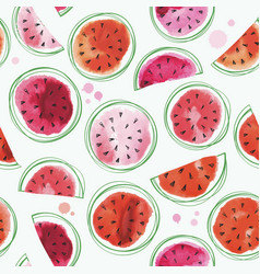 seamless watermelons pattern with watercolor vector image