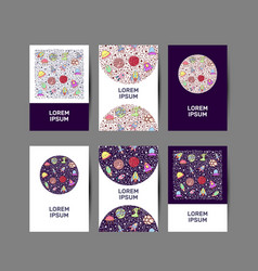 set of brochures cards with galaxy elements vector image
