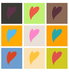 Set of heart icon flat love symbol valentines vector