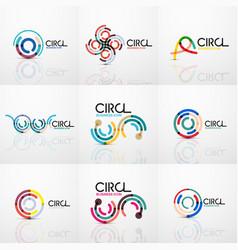 Set of line circles logos vector