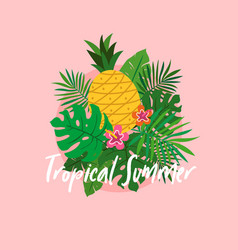 Set tropical plant leaves with pineapple and vector