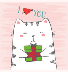 sketch cartoon white cat hugs gift vector image