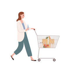 smiling casual woman walking with shopping cart vector image