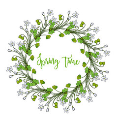 Spring wreath with wood sorrel flowers vector