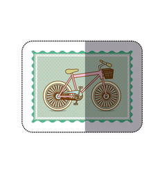 Sticker frame with silhouette of bicycle with vector