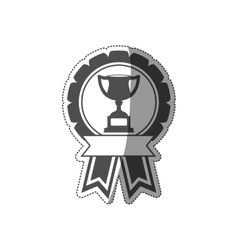 sticker trophy cup medal in monochrome with ribbon vector image