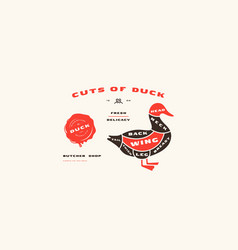 Stock duck cuts diagram in flat style vector