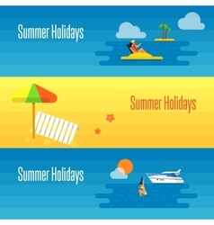 Summer Holidays Banner with Beach Umbrella vector image