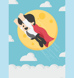 Super businessman is flying in sky background the vector