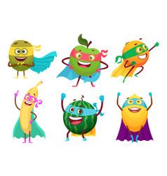 superheroes fruits vegetables healthy food mascot vector image