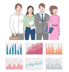 teamwork presentation chart and graph icons vector image