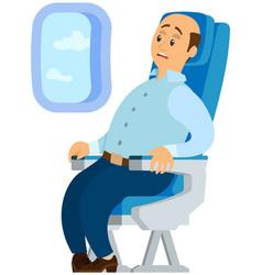 Terrified airplane passenger shocked turbulent vector