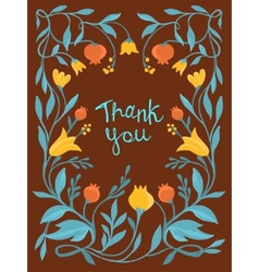 thank you card in flat style vector image