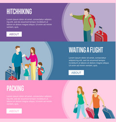 travelling people horizontal flyers set vector image