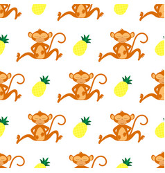 tropical seamless monkey pattern vector image