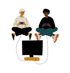 Two young men sitting on floor with crossed legs vector