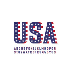 usa national flag style font vector image