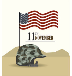 Veterans day and usa flag with helmet vector