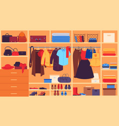 Wardrobe inner space closet shelves and hangers vector