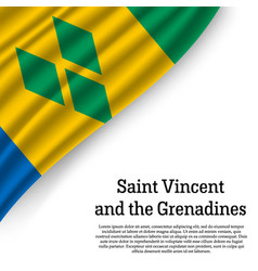 waving flag of saint vincent and the grenadines vector image
