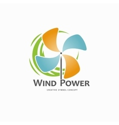 Wind power logo design template vector