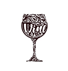 Wine Glass of alcoholic beverage in a decorative vector