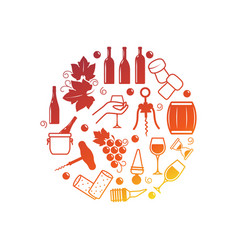 wine icons isolated on white vector image