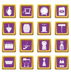 wine icons set purple vector image