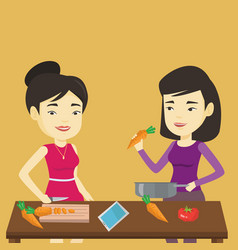 Women cooking healthy vegetable meal vector