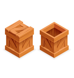 Wooden box open closed isometric 3d realistic vector