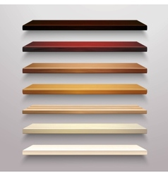 Wooden Shelves Set vector image