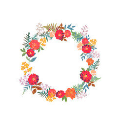 Wreath with flowers and leaves in circle colorful vector