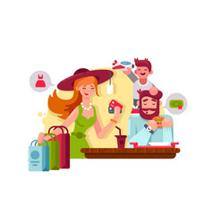 Young family shopping vector
