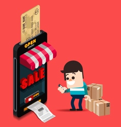 A man use credit card for buy from online store vector image