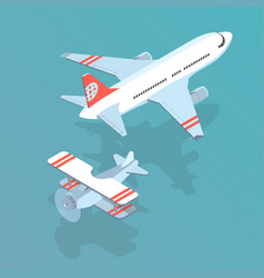 airplane and biplane vector image