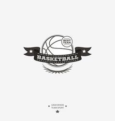 Basketball emblem logo badge with ribbon for vector image