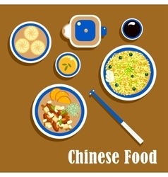 Chinese cuisine food snacks and beverage vector image