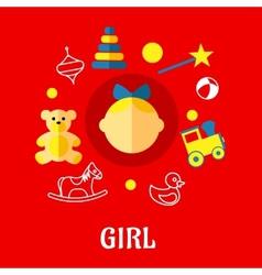 Girl flat concept vector