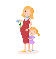 pregnancy woman and her child vector image vector image