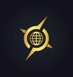 Round globe arrow compass gold logo vector