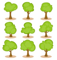 Set of trees in hand-drawn style vector image