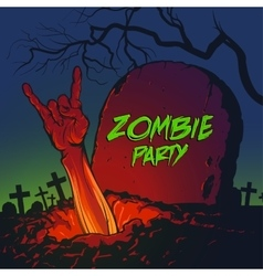 Zombie hand coming out from the grave vector image
