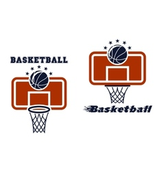 Backboard and basketball symbols vector image vector image