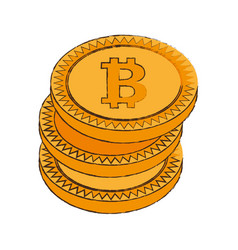 bitcoin cryptocurrency stack icon vector image vector image