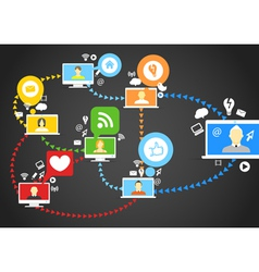 Global social network abstract scheme vector image vector image