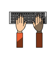 isolated hands writing in keyboard vector image vector image