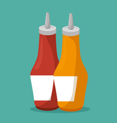 sauces bottles isolated icon vector image